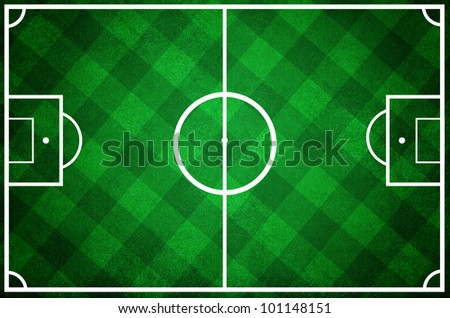 high resolution of a soccer field with checkered grass texture - stock photo