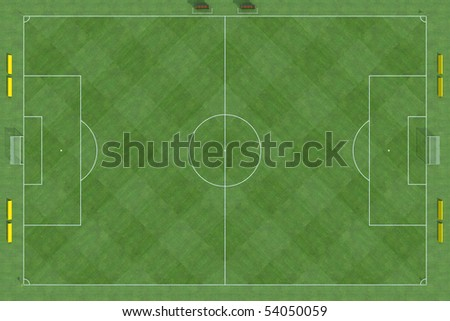 high resolution of a soccer field with checkered grass texture- rendering - stock photo