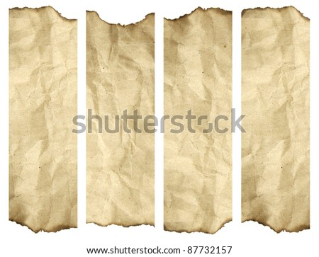 High resolution old paper burnt background isolated on white. It is a group of vertical banners - stock photo