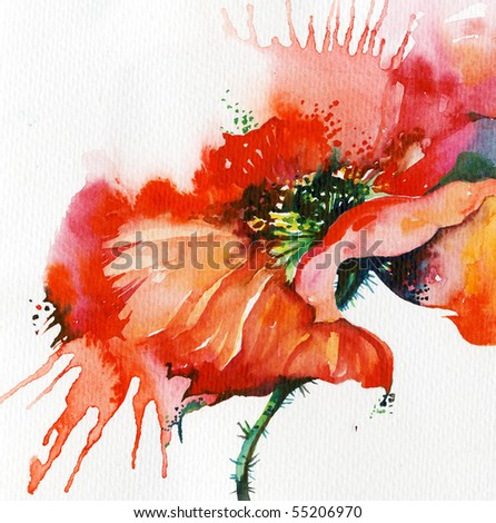"High-resolution original watercolor illustration painted by me ""Poppy"" - stock photo"