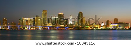 High Resolution Panorama, Famous Night Scene - Downtown Miami Florida - stock photo