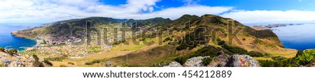 High resolution panoramic view from Pico do Facho viewpoint over the Machico valley, Madeira, Portugal - stock photo