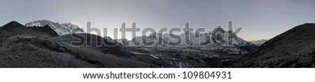 High resolution panoramic view of circus of the Ama Dablam and Lhotse-Nuptse wall before sunrise - Everest region, Nepal - stock photo