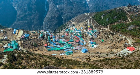 High resolution panoramic view of the capital of real sherpas - Namche Bazar, Nepal, Himalayas - stock photo