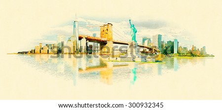 high resolution panoramic water color new york illustration - stock photo