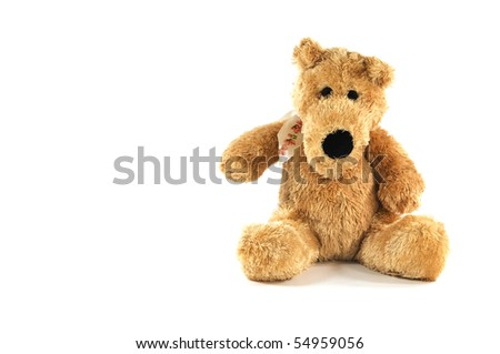 High resolution photo of an isolated plush dog.
