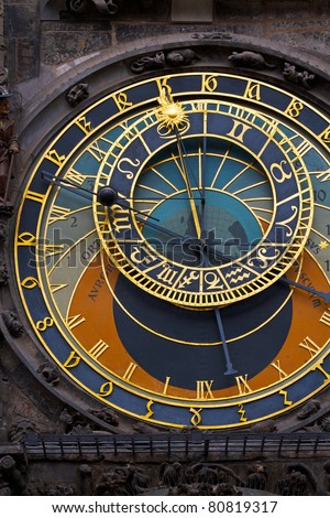 High resolution photo of astronomical clock (orloy) at Old Town Square in Prague - stock photo