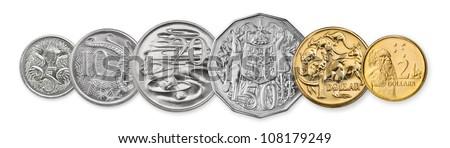 High resolution photo of Australian coins, 5 cent, 10 cents, 20 cents, 50 cents, 1 dollar, and 2 dollars - stock photo