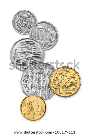 High resolution photo of Australian coins, 5 cents, 10 cents, 20 cents, 50 cents, 1 dollar, and 2 dollars - stock photo