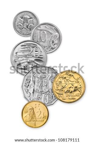 High resolution photo of Australian coins, 5 cents, 10 cents, 20 cents, 50 cents, 1 dollar, and 2 dollars - stock photo