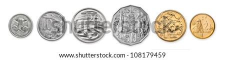 High resolution photo of current Australian coins - stock photo