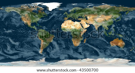 High resolution raster map of planet Earth - stock photo