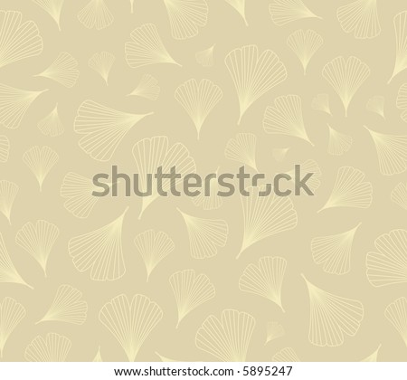 High resolution raster seamless background pattern: ginkgo leaves outlines on beige - stock photo