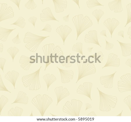 High resolution raster seamless background pattern: ginkgo leaves outlines on pale yellow - stock photo