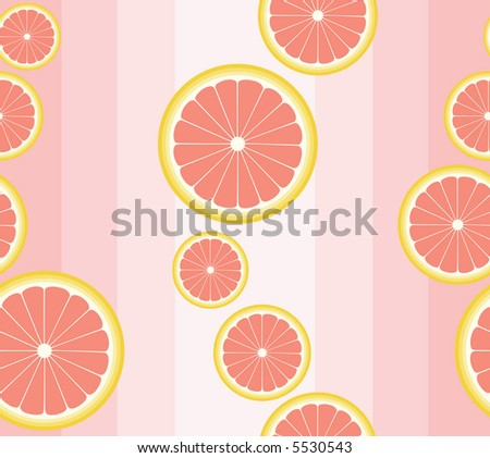 High resolution raster seamless background pattern with grapefruit slices on pale pink - stock photo