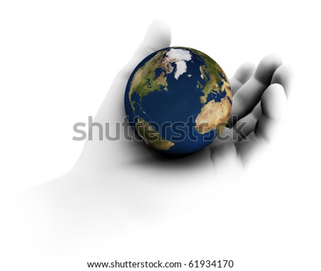 High resolution raytraced 3D render of Earth being held in hand. - stock photo