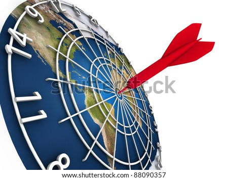 High resolution raytraced 3D render of Earth dart board on white background. One red dart in the bull's eye. - stock photo