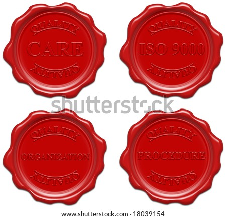 High resolution realistic red wax seal with text - stock photo