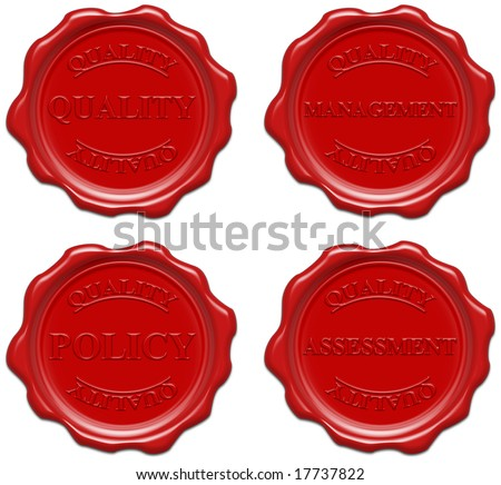 High resolution realistic red wax seal with text : quality, management, policy, assessment - stock photo