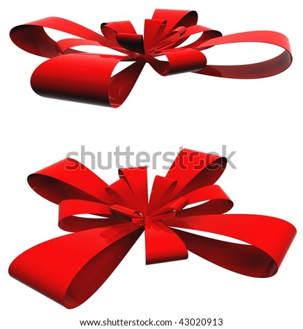 High resolution red ribbons isolated on white background for christmas, holiday and birthday designs