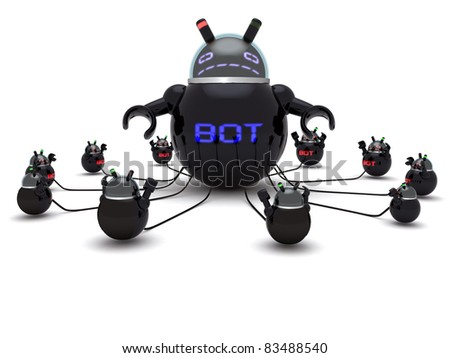High resolution render of an / Botnet Herder / and small bots on white with soft shadows