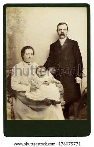 High resolution scan of a genuine vintage photograph circa 1893-1900 of a Victorian family. - stock photo