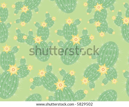 High resolution seamless background pattern: blooming cacti on pale green - stock photo