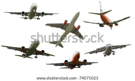 High resolution set of airplanes isolated on white background - stock photo