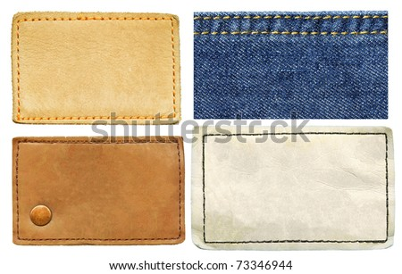High resolution set of blank grungy real and artificial leather jeans labels and jeans texture, isolated on white background - stock photo
