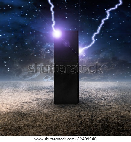 High Resolution Strange Monolith on Lifeless Planet - stock photo