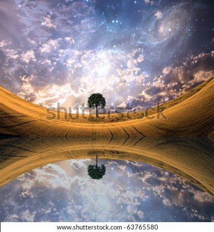 High Resolution Surreal Lake and landscape - stock photo