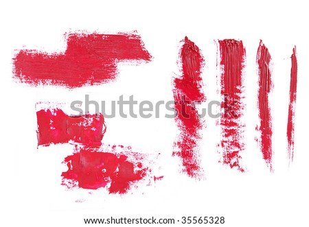 High-resolution texture of red brush strokes on white background.