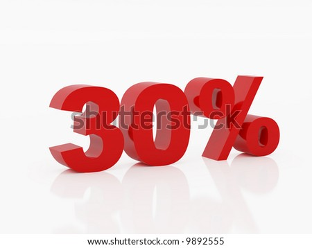 High resolution thirty percent. 3d illustration over  white backgrounds. - stock photo