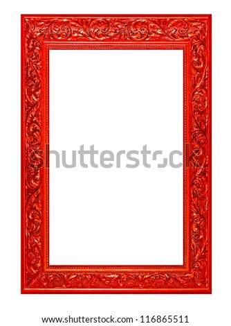 high resolution victorian wood cut frame style cutout on white isolated with working path, red. - stock photo