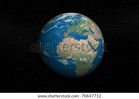 High resolution view of Earth in Space - stock photo