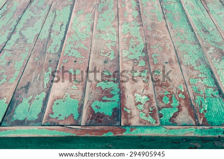 High resolution vintage panel wood background from solid wood ruin table pale gross color - stock photo