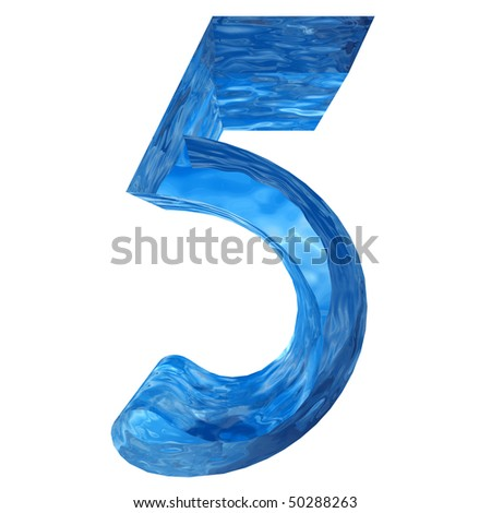 High resolution water number isolated on white for fresh or natural designs - stock photo