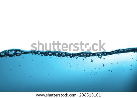 High resolution. Wave and bubbles to clean drinking water. - stock photo