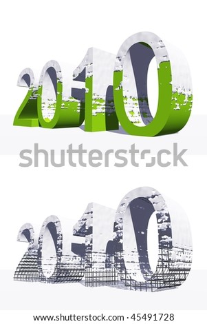 High resolution white and green 3D 2010 year isolated on white background - stock photo