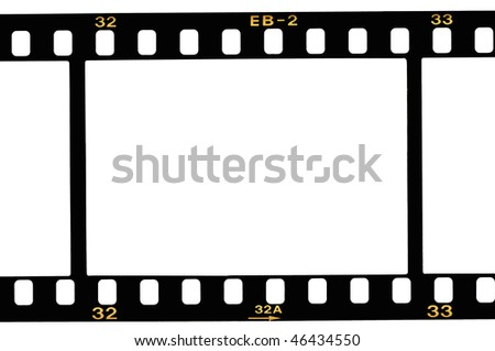High resolution white background macro studio image of a 35 mm filmstrip background - stock photo