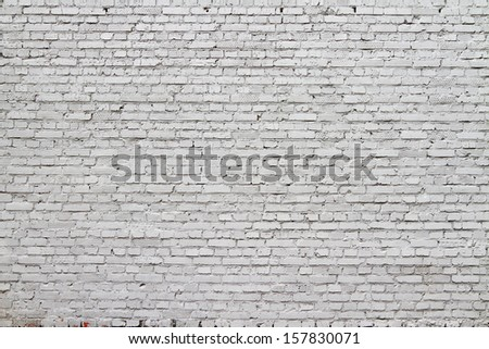High resolution white brick wall texture - stock photo