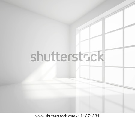 High resolution white room with window - stock photo