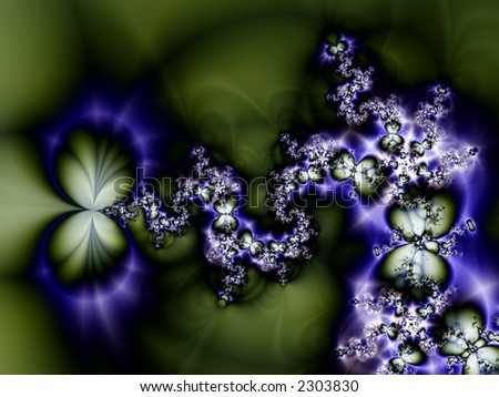 High resoluton fractal rendering of butterflies on dark background - stock photo