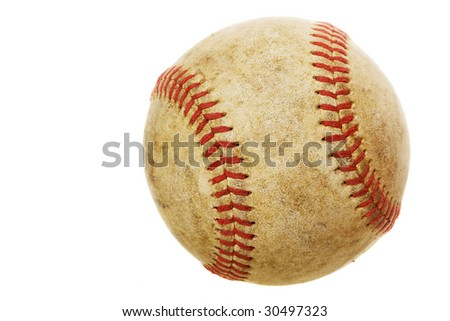 High rez worn baseball on a white background - stock photo