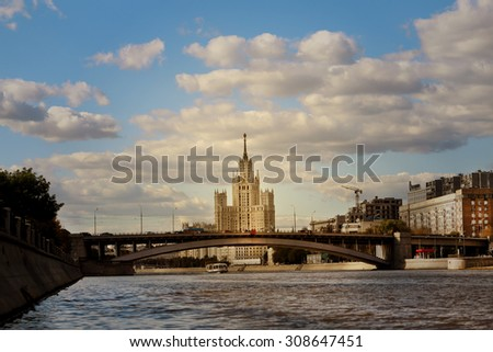 High-rise building on the banks of the Moscow river - stock photo