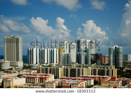 High rise buildings and condominiums at the coast of Sunny Isles Beach - stock photo