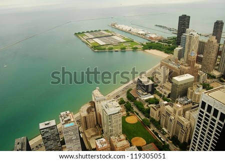 High Rise Buildings at Downtown Chicago Waterfront , Illinois - stock photo