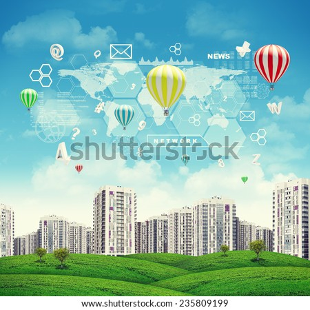 High-rise buildings of same design over green hills with few trees, few air baloons above. Charts, diagrams and other virtual items in sky - stock photo