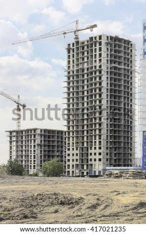 High-rise buildings under construction. - stock photo
