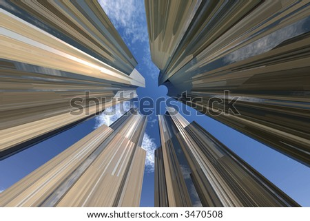 High rise business buildings - stock photo